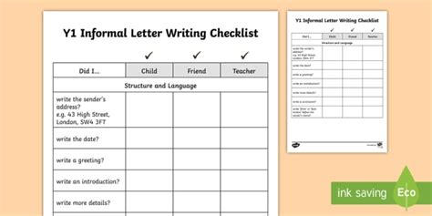 year  informal letter writing checklist letters