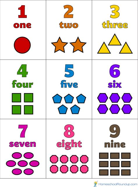 printable preschool number flash cards numbers