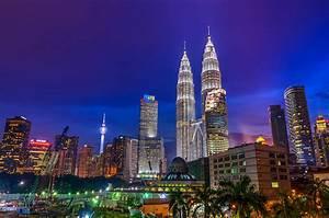 Picture Kuala Lumpur Malaysia Palms night time Skyscrapers ...