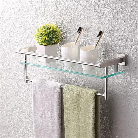 Glass Bathroom Shelves With Towel Rack by Kes A2225 2 Sus304 Stainless Steel Bathroom Glass Shelf