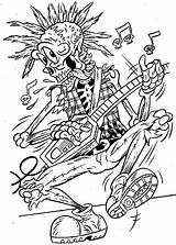 Coloring Skeleton Pages Skull Colouring Halloween Adults Guitar Punk Rock Monster sketch template