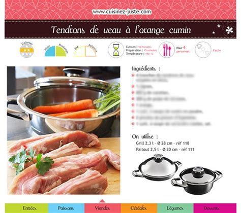 750g fiche de cuisine fiche recette viande tendrons de veau à l 39 orange cumin