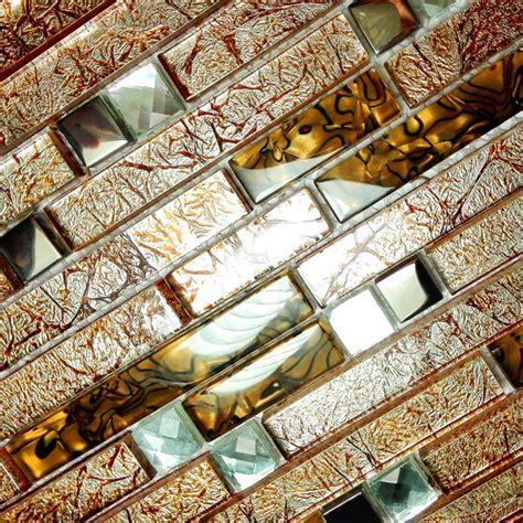 Retro Golden   3 Dimensional Mosaic Decorative Wall Tile(2PC)