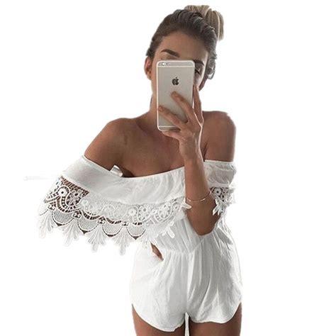 Off Shoulder Rompers Womens Jumpsuit 2016 Hippie Boho Sexy White Jumpsuits Bodysuit Romper ...