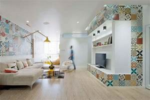 36 idees deco avec des motifs carreaux de ciment With kitchen colors with white cabinets with papier peint saint maclou