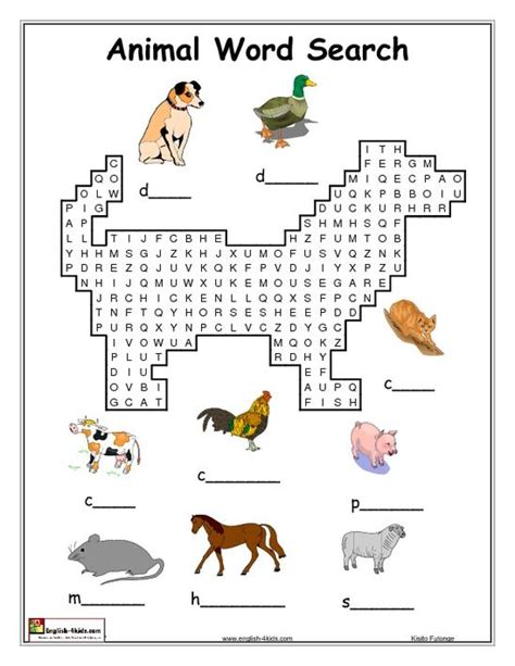 english activities 2nd grade animal word search