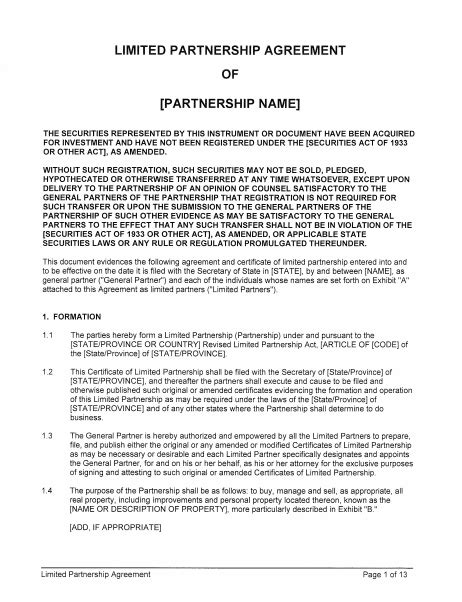 limited partnership agreement templates  word
