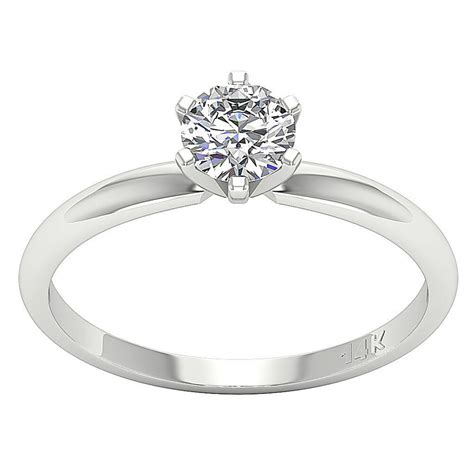 solitaire engagement ring band vintage prong diamond 0 55 ct 14kt white gold ebay