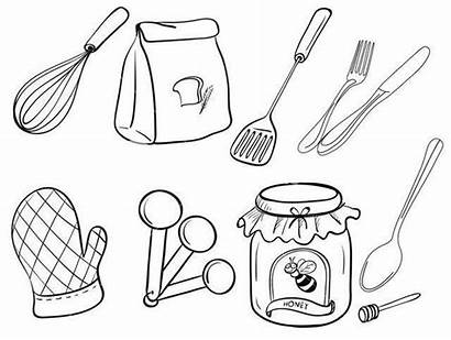 Coloring Baking Utensils Kitchen Printable Colouring Cooking