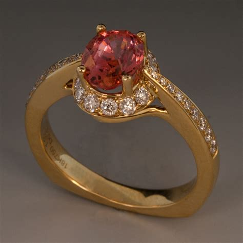 Padparadscha Sapphire & Diamond Ring In 18k Yellow Gold. Assch Cut Engagement Rings. Nerve Rings. Islamic Engagement Rings. Man 2 Gram Wedding Rings. Handcrafted Jewelry Engagement Rings. Exchange Wedding Rings. 1 10 Carat Wedding Rings. Large Cluster Wedding Rings