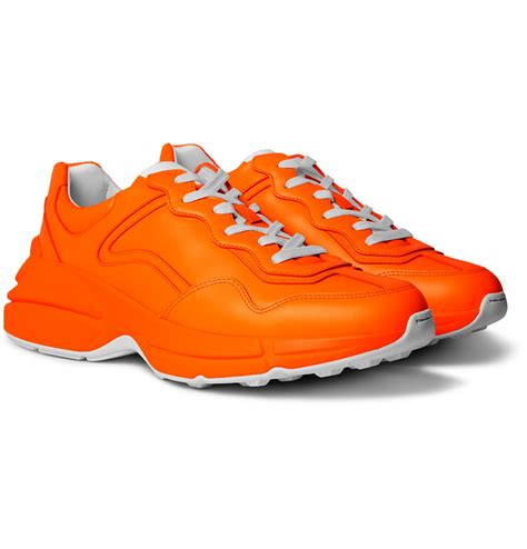 They look especially good with a blazer and shorts. Gucci - Rhyton Leather Sneakers - Men - Orange   The ...