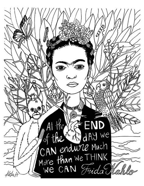 Frida Kahlo Coloring book page - black and white, LineArt