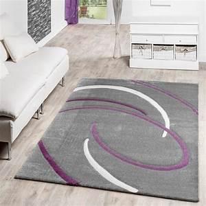 tapis salon moderne ebro avec motif spirales en gris With tapis moderne avec canapé lit violet