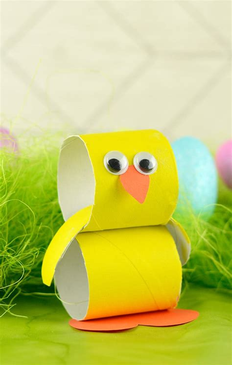 paper roll chick easter crafts  kids easy peasy  fun