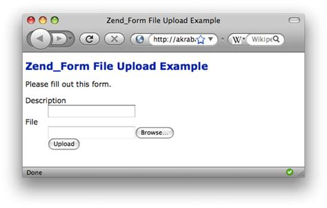 Simple Zend_form File Upload Example