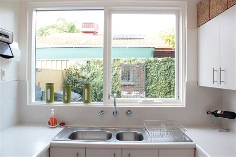 Kitchen Bay Window Treatment Ideas - minimalist designed contemporary kitchen decorated with kitchen window designs and chic wall