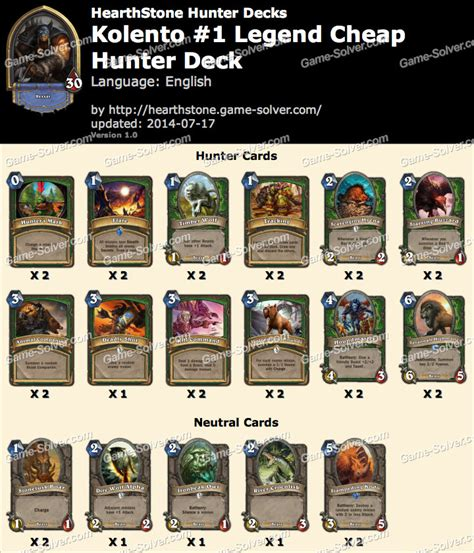 Kolento #1 Legend Cheap Hunter Deck
