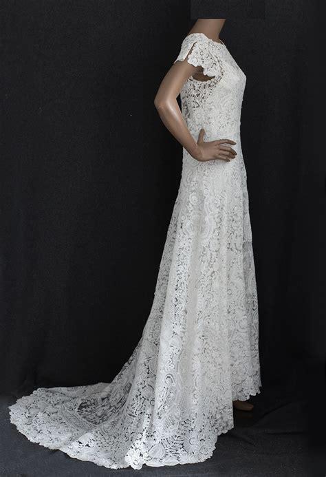 brussels handmade mixed lace wedding dress