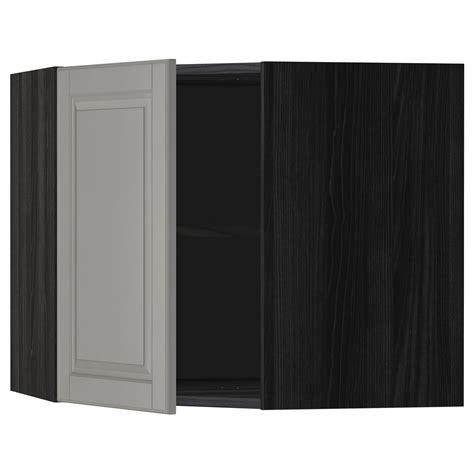 ikea corner wall cabinet metod corner wall cabinet with shelves black bodbyn grey