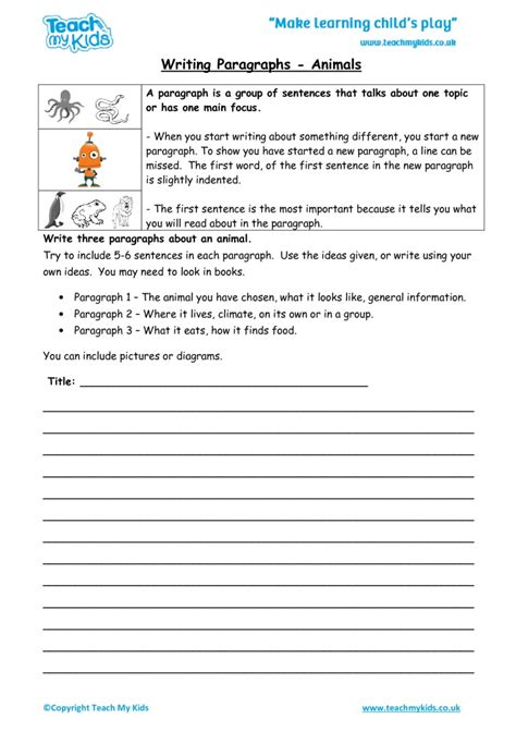 learning how to write a paragraph worksheet kidz activities