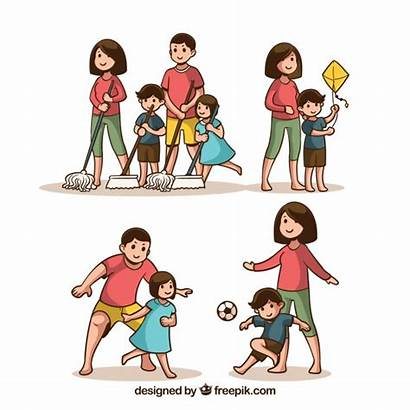 Activities Different Doing Vector Families Drawn Hand