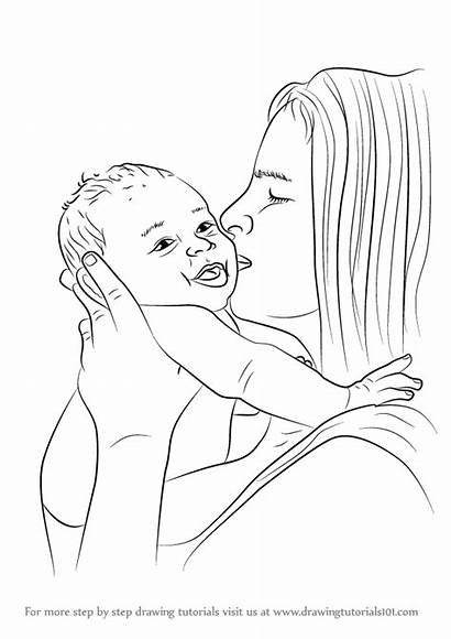 Mother Draw Kissing Step Drawing Tutorial Previous
