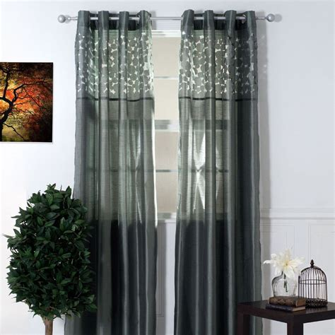 lavish home karla sheer single panel curtain 84 inches laser cut ebay