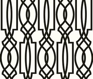 Wallpaper Designer Black on Off White Imperial Trellis ...