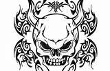 Coloring Demon Skull Demons Tribal Skulls sketch template