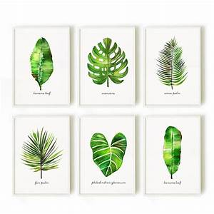 Palm leaf watercolor painting, Set of 3 botanical painting ...