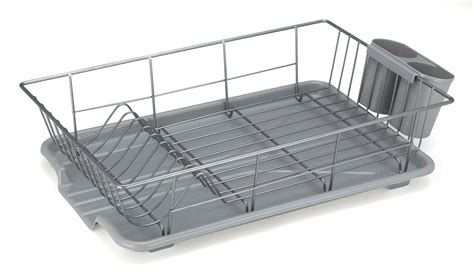 kitchen dish drying rack stainless steel  plastic drainer tray  sink  ebay