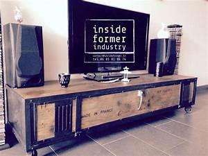 meuble tv style industriel pas cher great fabriquer une With meuble style industriel