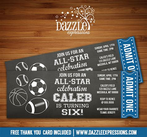 printable  star sports chalkboard ticket birthday