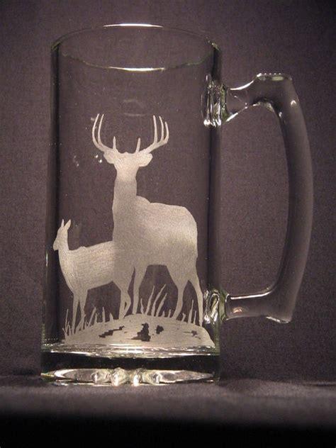 wildlife engraved glass deer design beer mug etsy
