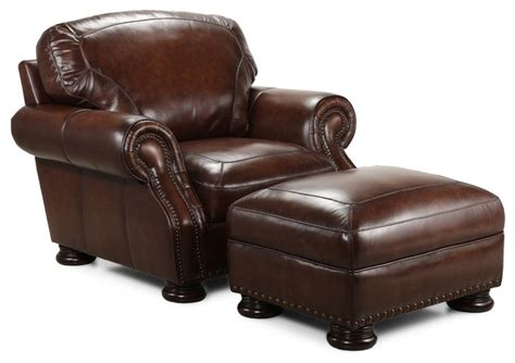Simon Li Traditional Brown Leather Chair