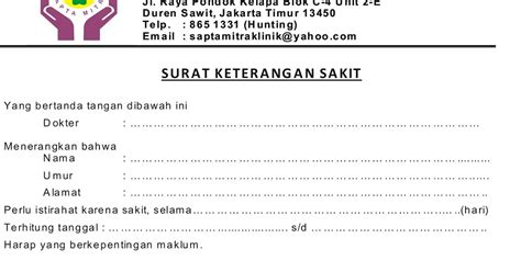 Contoh Surat Dokter Klinik Jakarta Selatan