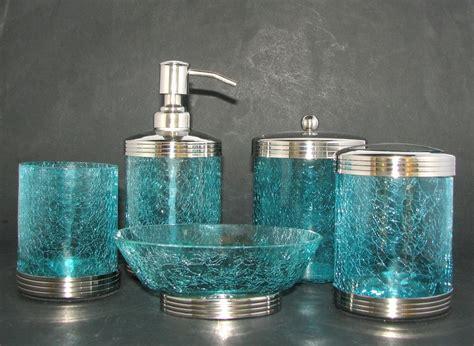 new 5 pc crackled blue glass chrome set soap dispenser jar