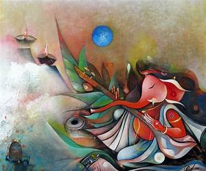 Ganesha Playing Instrument II by artist M Singh | acrylic ...