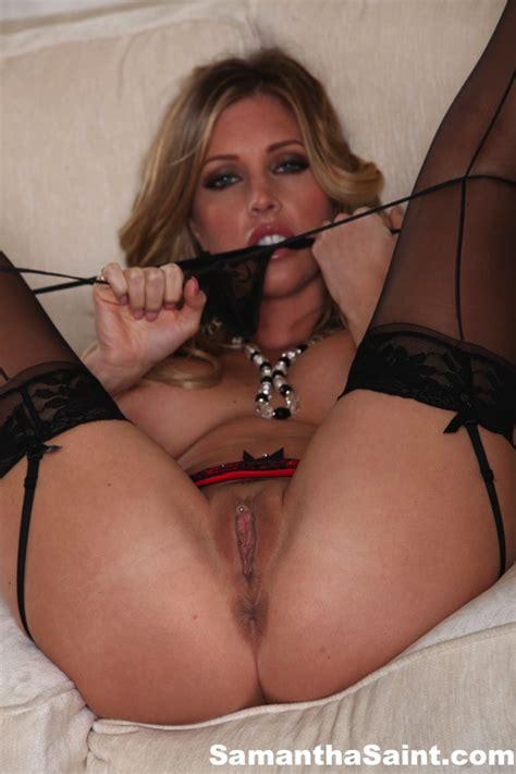 Hot Milf Samantha Saint Fingers Her Horny Cunt Wearing