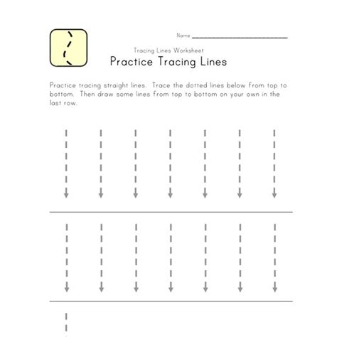 trace lines down worksheet all kids network