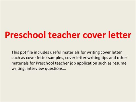 Teaching Resume Writing Ppt by Preschool Cover Letter