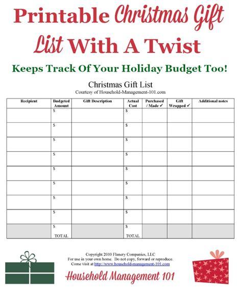 christmas gift list printable     create