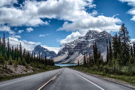 road mountains landscape trees wallpapers hd desktop