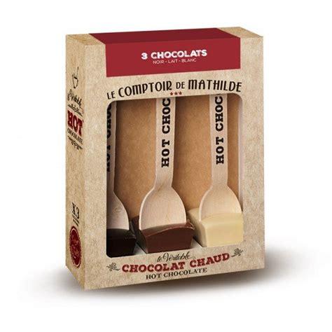 coffret couteau de cuisine cuillère chocolat chaud x3 noir blanc lait le