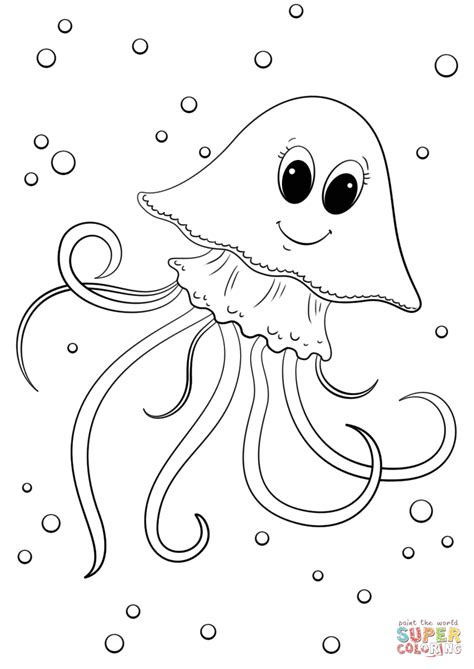Coloring Jellyfish by Jellyfish Coloring Page Free Printable Coloring