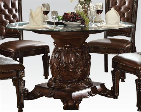 round glass breakfast table set dining set w round glass table vendome cherry by acme