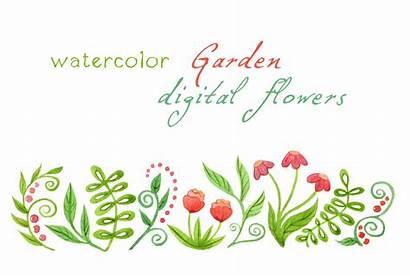 Watercolor Clipart Flowers Garden Digital Border Floral