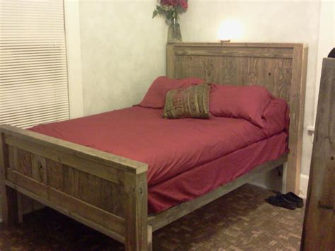 ana white full size farmhouse bed  recycled wood