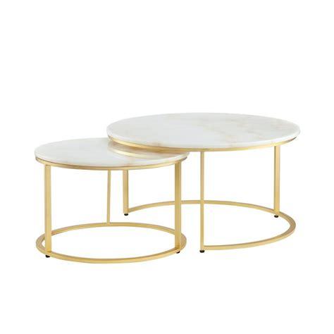 Elle round marble nest coffee tables. Posh Living Kero Round Marble Top Nesting Coffee Table in ...