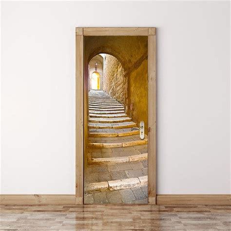ancient stone staircase arch decal door murals door